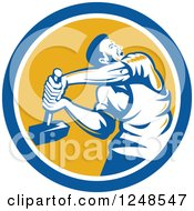 Clipart Of A Retro Male Union Worker Using A Sledgehammer In A Circle Royalty Free Vector Illustration by patrimonio
