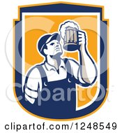 Clipart Of A Retro Male Bartender Cheering With Beer In A Shield Royalty Free Vector Illustration by patrimonio