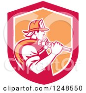 Clipart Of A Retro Fireman With A Hose In A Shield Royalty Free Vector Illustration