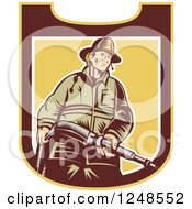 Clipart Of A Retro Woodcut Fireman With A Hose In A Shield Royalty Free Vector Illustration