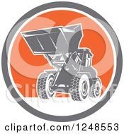 Retro Front End Loader Digger Machine In A Circle