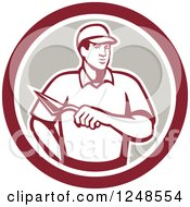 Clipart Of A Retro Mason Worker With A Trowel In A Circle Royalty Free Vector Illustration