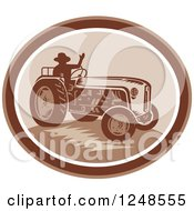 Retro Silhouetted Farmer Waving And Operating A Tractor In An Oval