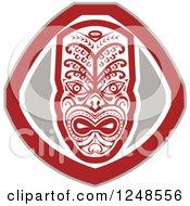 Clipart Of A Retro Maori Mask Shield Royalty Free Vector Illustration by patrimonio