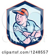 Clipart Of A Cartoon Male Mechanic Holding A Spanner Wrench In A Shield Royalty Free Vector Illustration