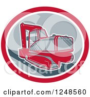 Clipart Of A Retro Mechanical Digger In An Oval Royalty Free Vector Illustration by patrimonio