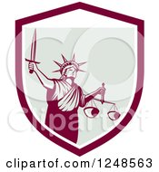Clipart Of A Retro Statue Of Liberty With A Sword And Scales In A Shield Royalty Free Vector Illustration