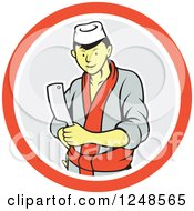 Clipart Of A Cartoon Male Japanese Chef With A Knife In A Circle Royalty Free Vector Illustration