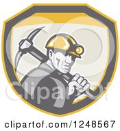 Retro Coal Miner With A Pickaxe In A Shield