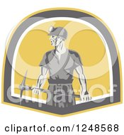 Retro Male Coal Miner With A Pickaxe In A Shield
