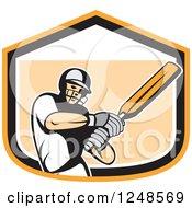 Retro Cricket Player Man Batting In A Shield