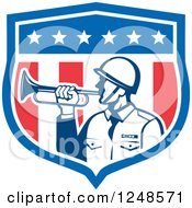 Clipart Of A Retro Military Soldier With A Bugle In A Shield Royalty Free Vector Illustration