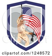 Clipart Of A Soldier With A Rifle And American Flag In A Shield Royalty Free Vector Illustration