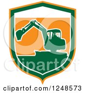 Clipart Of A Green Silhouetted Excavator Machine In A Shield Royalty Free Vector Illustration by patrimonio