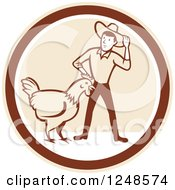 Clipart Of A Retro Cartoon Male Farmer And Giant Chicken In A Circle Royalty Free Vector Illustration
