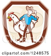 Clipart Of A Retro Cartoon Male Farmer And Giant Chicken In A Shield Royalty Free Vector Illustration