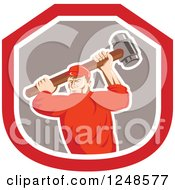 Clipart Of A Retro Male Union Worker Swinging A Sledgehammer In A Shield Royalty Free Vector Illustration by patrimonio