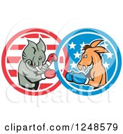 Cartoon Republican Elephant And Democratic Donkey Boxing