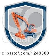 Clipart Of An Excavator Machine In A Shield Royalty Free Vector Illustration by patrimonio