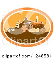 Retro Silhouetted Farmer Plowing With A Tractor
