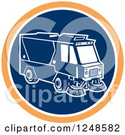 Clipart Of A Retro Street Cleaner Machine In A Blue And Orange Circle Royalty Free Vector Illustration