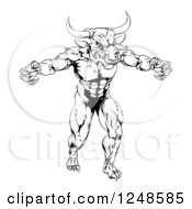 Clipart Of A Black And White Muscular Minotaur Mascot Royalty Free Vector Illustration by AtStockIllustration
