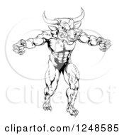 Black And White Muscular Minotaur Mascot
