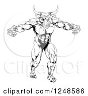 Clipart Of A Black And White Strong Minotaur Mascot Royalty Free Vector Illustration by AtStockIllustration