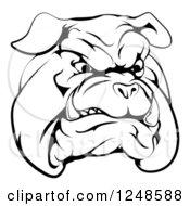 Black And White Snarling Bulldog Mascot Face