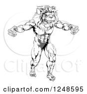 Black And White Muscular Male Lion Mascot