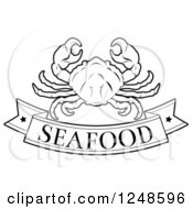 Clipart Of A Black And White Pork Seafood Banner And Crab Royalty Free Vector Illustration by AtStockIllustration