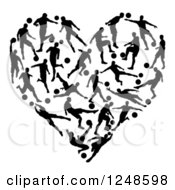 Clipart Of A Heart Formed Of Silhouetted Soccer Players Royalty Free Vector Illustration