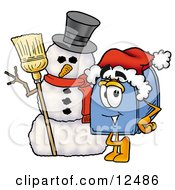 Clipart Picture Of A Blue Postal Mailbox Cartoon Character With A Snowman On Christmas