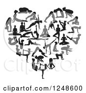 Clipart Of A Black And White Heart Made Of Silhouetted Yoga And Pilates People Royalty Free Vector Illustration