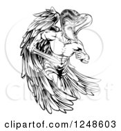 Clipart Of A Black And White Musular Spartan Trojan Warrior Angel Mascot Running With A Sword Royalty Free Vector Illustration