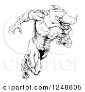 Clipart Of A Black And White Muscular Aggressive Boar Mascot Running Upright Royalty Free Vector Illustration