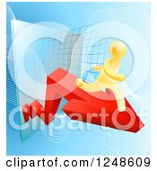 Clipart Of A 3d Gold Man Running On An Arrow Over A Grid Royalty Free Vector Illustration by AtStockIllustration