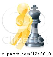 Clipart Of A 3d Gold Man Leaning Against A King Chess Piece Royalty Free Vector Illustration