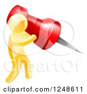 Clipart Of A 3d Gold Man Using A Giant Red Pin Royalty Free Vector Illustration by AtStockIllustration