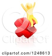Clipart Of A 3d Gold Man Sitting And Cheering On A Giant Red Cross X Royalty Free Vector Illustration