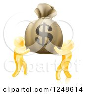 Clipart Of 3d Gold Men Carrying A Giant Dollar Money Bag Royalty Free Vector Illustration