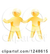 Clipart Of Two 3d Gold Men Shaking Hands And One Gesturing Royalty Free Vector Illustration