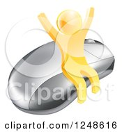 Clipart Of A 3d Gold Man Cheering And Sitting On A Computer Mouse Royalty Free Vector Illustration by AtStockIllustration