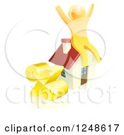 Clipart Of A 3d Gold Man Cheering On A House By A Percent Symbol Royalty Free Vector Illustration
