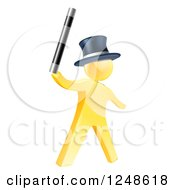 Clipart Of A 3d Gold Man Magician Holding Up A Wand Royalty Free Vector Illustration