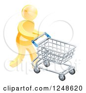 Clipart Of A 3d Silver Man Pushing A Computer Mouse In A Shopping Cart Royalty Free Vector Illustration
