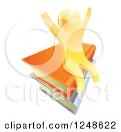 Clipart Of A 3d Happy Cheering Gold Man Sitting On A Stack Of Books Royalty Free Vector Illustration