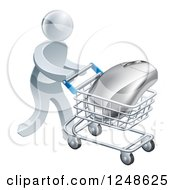 Clipart Of A 3d Silver Man Pushing A Computer Mouse In A Shopping Cart Royalty Free Vector Illustration by AtStockIllustration