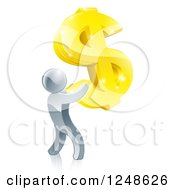 Clipart Of A 3d Silver Man Holding Up A Giant USD Dollar Symbol Royalty Free Vector Illustration by AtStockIllustration