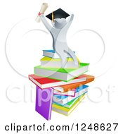 Clipart Of A 3d Silver Person Graduate Cheering Holding A Diploma And Sitting On A Stack Of Books Royalty Free Vector Illustration